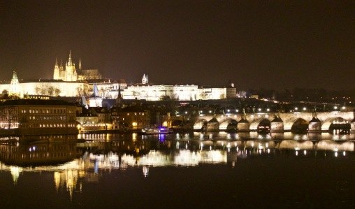 Dramatic Prague at night