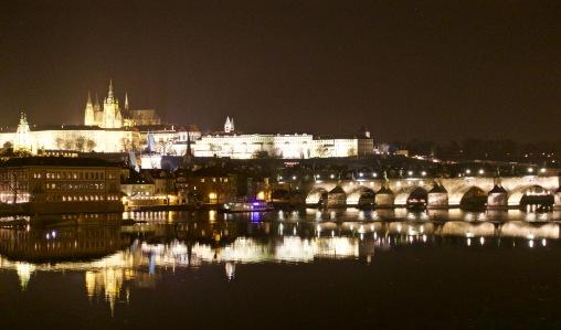 Dramatic Prague at night