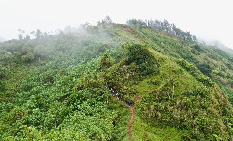 Trekking under the rainy clouds